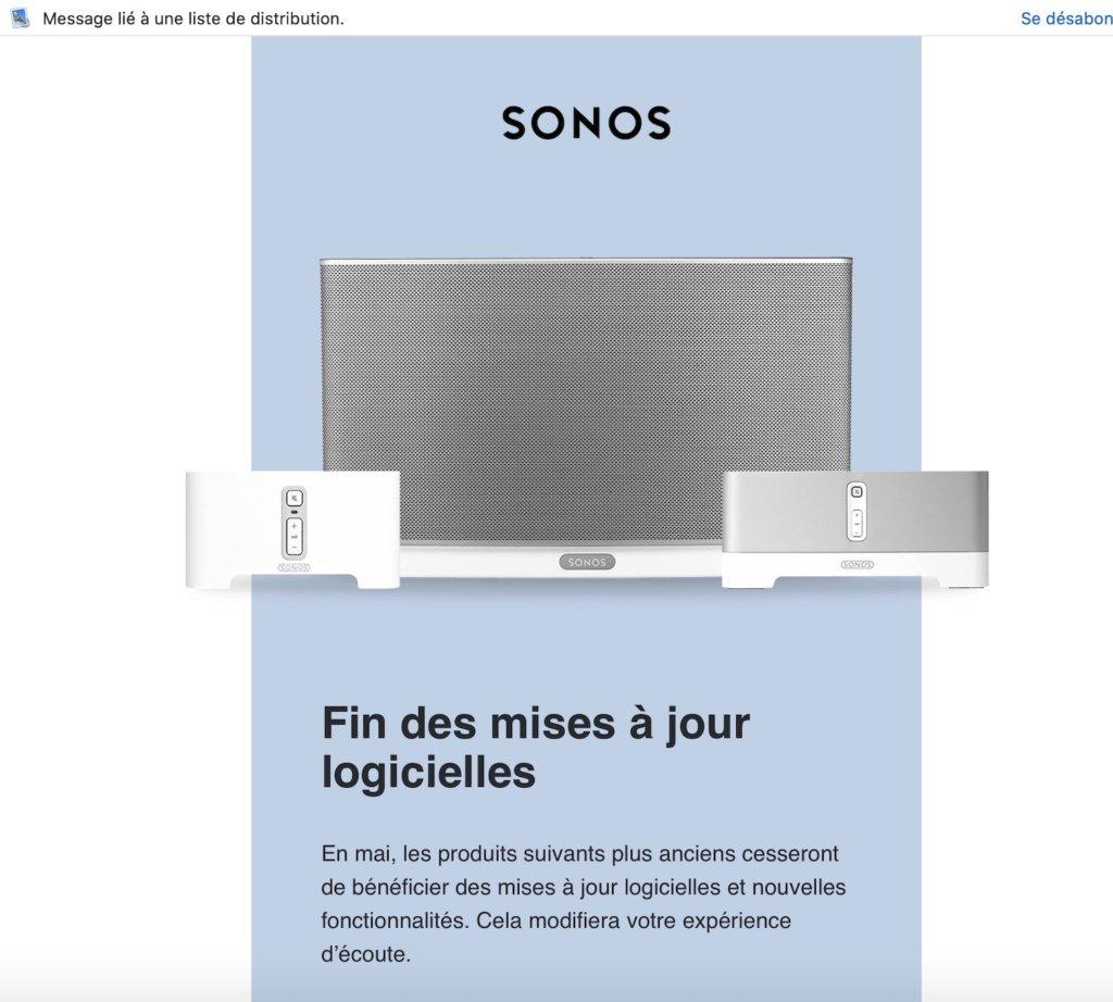 Obsolescence programmée SONOS MAIL